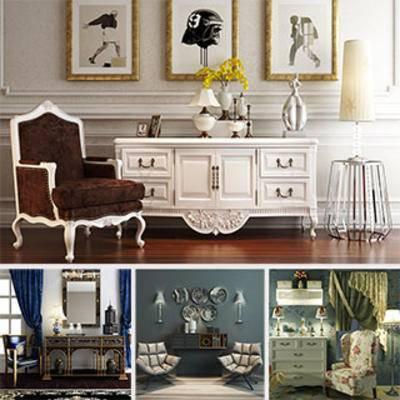 模型合集, 摆设品, 单人椅, 北欧, 灯, 边柜, 合集, 欧式, 边柜合集