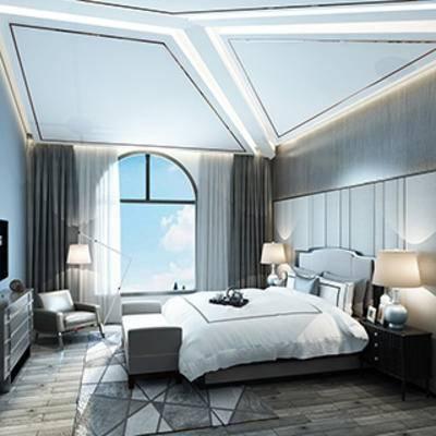 现代, 卧室, 床头柜, 台灯, 窗帘, 地毯, 电视柜, 单椅, 落地灯