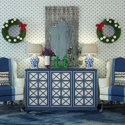 组合, 边柜, 灯, 地中海, 单人椅, 摆设品