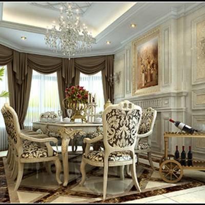 餐桌餐椅, 摆设品, 餐具, 灯, 餐厅, 窗帘, 欧式