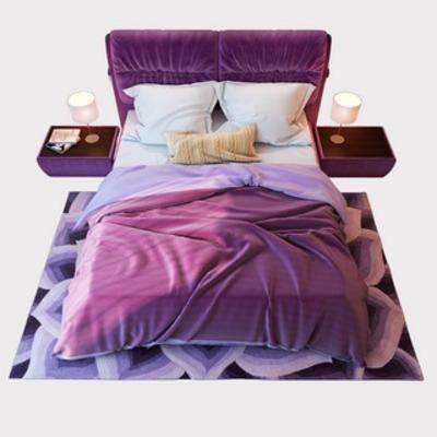 国外模型, 床具组合, 双人床, 现代简约