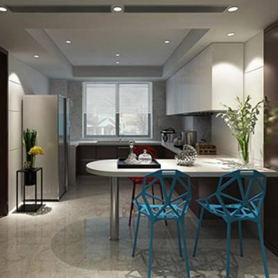 餐桌餐椅, 摆设品, 灯, 厨房, 现代简约, 橱柜, 盆栽, 桌椅组合