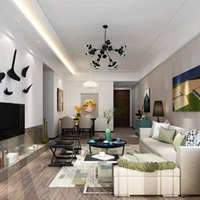 摆设品, 单人椅, 灯, 边柜, 客厅, 沙发茶几组合, 现代