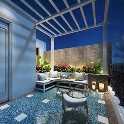 花坛, 栏杆, 室外, 阳台, 露台, 凳子, 现代简约, 植物, 桌椅组合