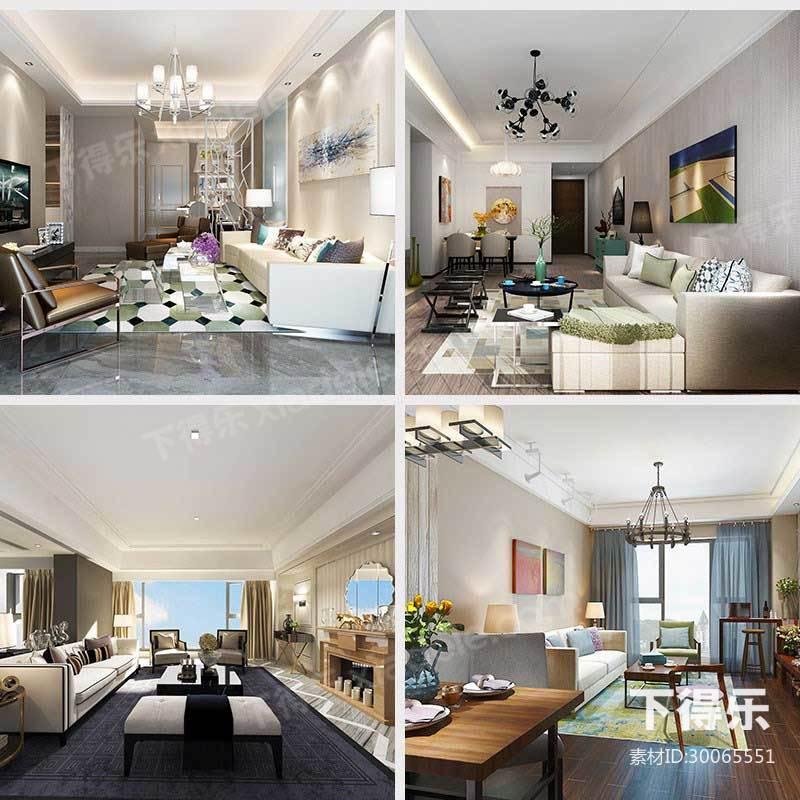 9套下得乐现代风格客厅模型合集,客厅