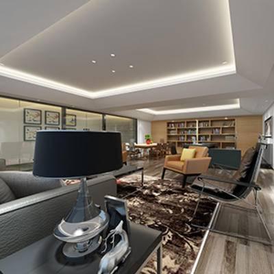 餐桌餐椅, 摆设品, 单人椅, 灯, 边柜, 客厅, 书柜, 沙发茶几组合, 现代
