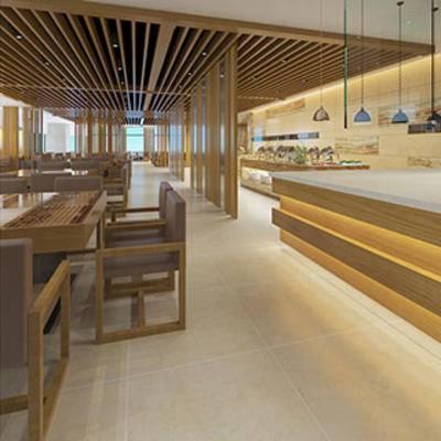 餐桌餐椅, 摆设品, 餐具, 自助餐厅, 灯, 边柜, 餐厅, 现代简约