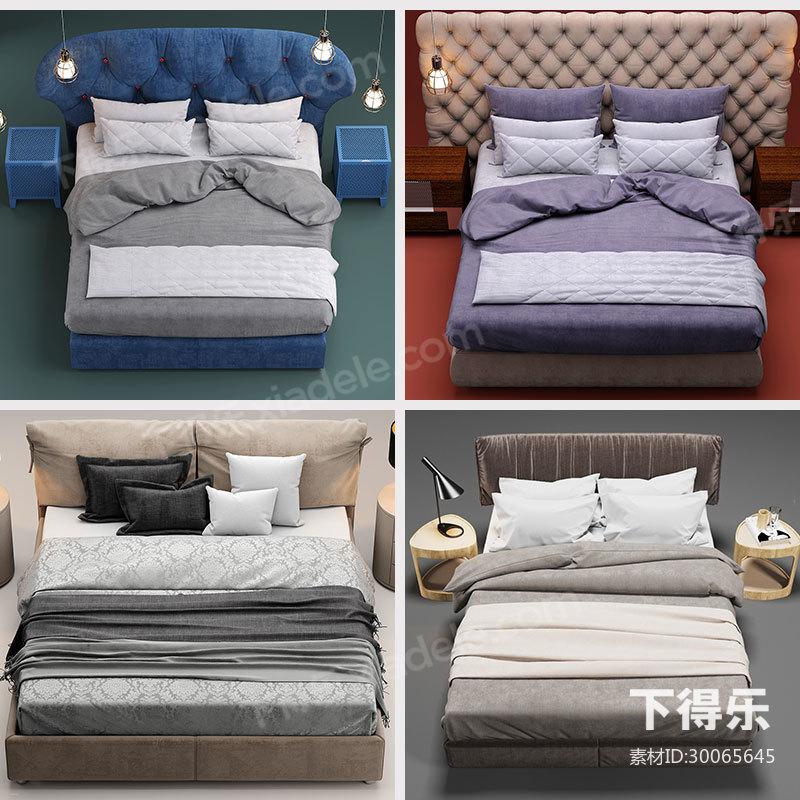 9套下得乐现代简约双人床模型合集,床