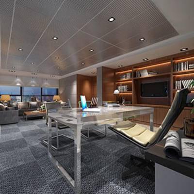 沙发茶几, 桌椅组合, 现代简约, 办公室, 灯, 地毯, 摆设品