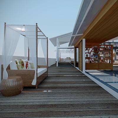 休闲区, 阳台, 屏风, 中式, 沙发