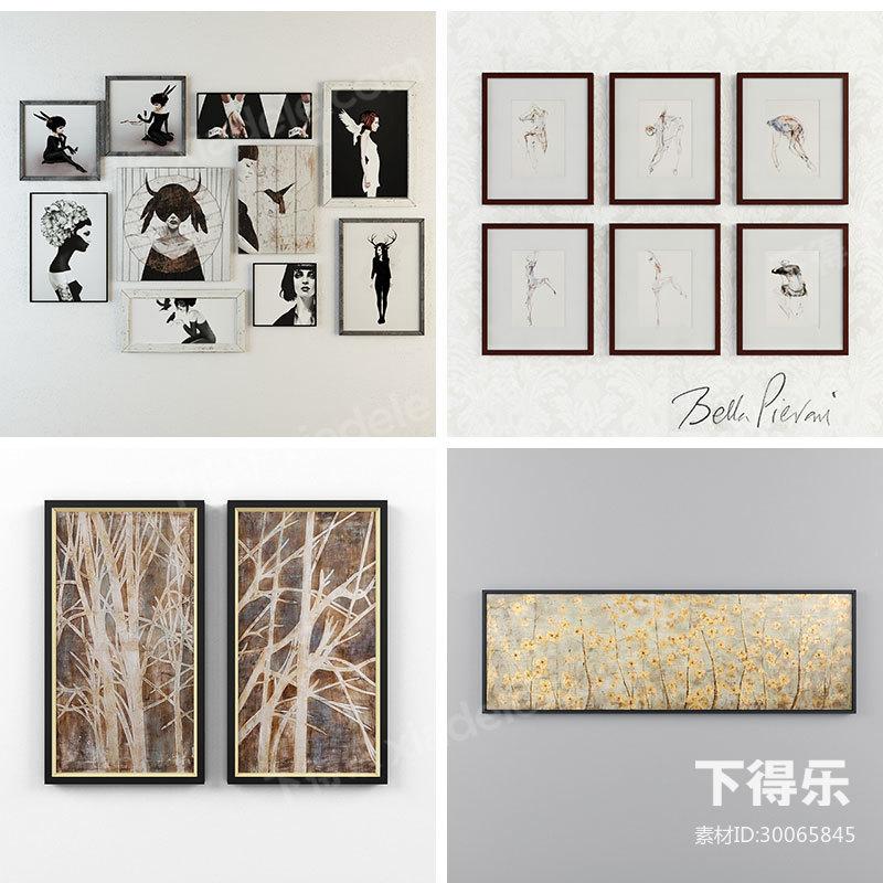 9套下得乐现代简约装饰画挂画模型合集,陈列品