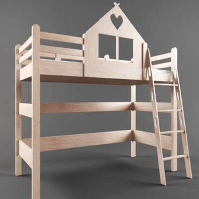 国外模型, 儿童床, 现代, 床