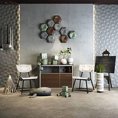 摆设品, 单人椅, 北欧, 陈设品, 组合, 简约