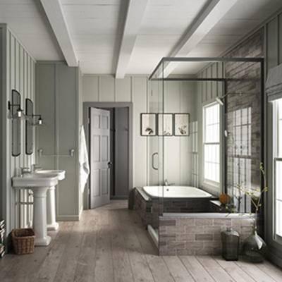 乡村风格, 浴缸, 洗手台, 卫生间, 美式风格