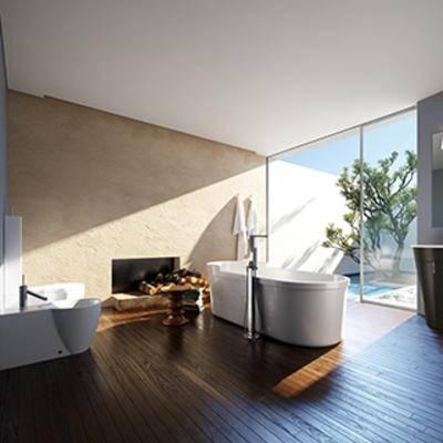 淋浴间, 摆设品, 洗手台, 卫生间, 镜子, 现代简约