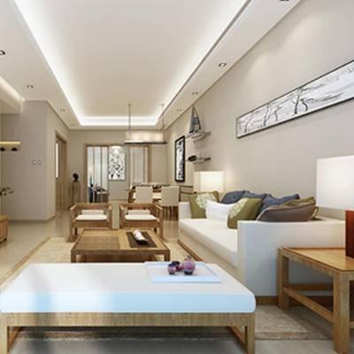 电视柜, 陈列品, 沙发茶几组合, 中式, 客厅