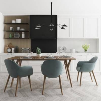 桌椅组合, 橱柜, 简约, 陈设品, 北欧, 餐具, 餐桌餐椅, 下得乐3888套模型合辑