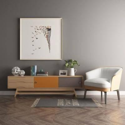 简约, 电视柜, 陈设品, 北欧, 单椅