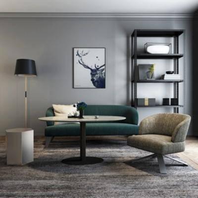 沙发茶几组合, 简约, 北欧沙发, 置物架, 灯, 北欧, 挂画, 下得乐3888套模型合辑