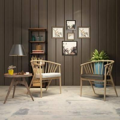 单椅, 装饰画组合, 边几, 北欧, 灯, 组合, 简约