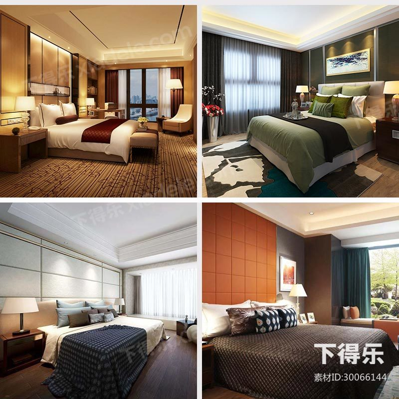 9套下得乐现代风格卧室模型合集,卧室