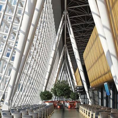 大厅, 大堂, 现代, 机场, 等候, 厅