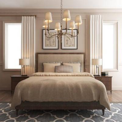 美式风格, 窗帘, 灯, 双人床, 床具组合, 现代窗帘, 下得乐3888套模型合辑