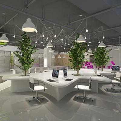 桌椅组合, 盆栽, 现代, 办公室, 灯