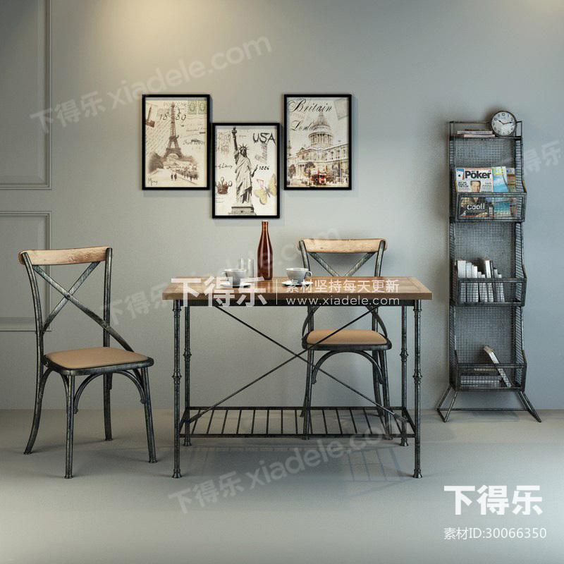 美式工业风桌椅组合图片