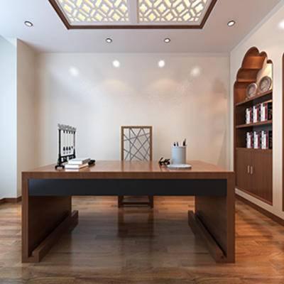 中式, 桌椅组合, 书柜, 灯, 书桌椅组合
