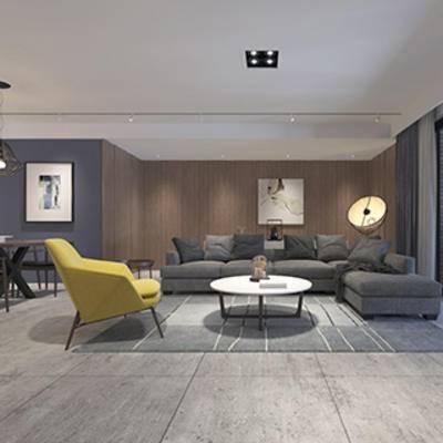 挂画, 陈设品, 客厅, 沙发茶几组合, 椅子, 现代