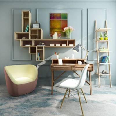 椅子, 装饰柜, 简约, 组合, 北欧, 书桌椅