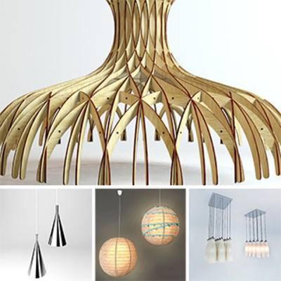模型合集, 现代简约, 现代吊灯, 灯饰, 吊灯