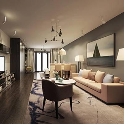 挂画, 灯, 边柜, 客厅, 沙发茶几组合, 椅子, 现代