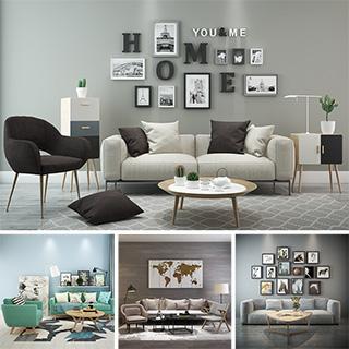 沙发茶几组合,简约,北欧,模型合集
