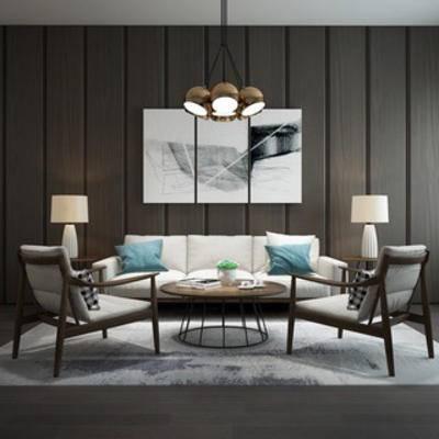 椅子, 沙发茶几组合, 现代简约, 灯, 陈设品, 边几, 下得乐3888套模型合辑