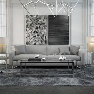 沙发茶几组合, 现代简约, 挂画, 边几, 现代窗帘