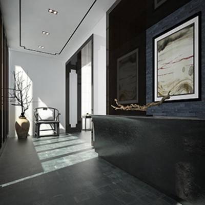 陈设品, 边柜, 走廊, 玄关, 中式