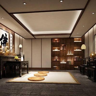 佛堂, 陈设品, 博古架, 桌子, 中式, 椅子