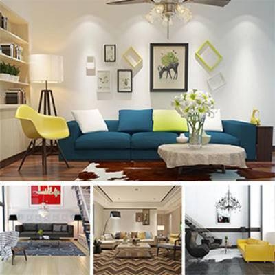 沙发茶几组合, 模型合集, 现代, 挂画, 置物柜