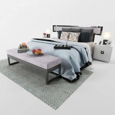 长凳, 床具组合, 双人床, 现代简约