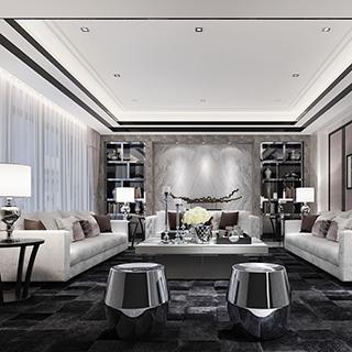 沙发茶几组合,凳子,客厅,灯,新中式,陈设品,边几