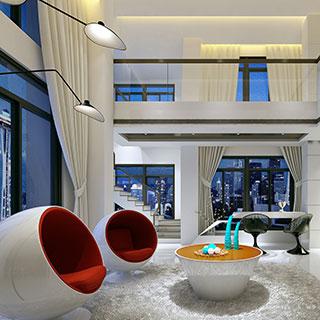 椅子,现代简约,桌子,窗帘,客厅,复式