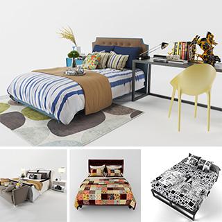 床具组合,双人床,模型合集