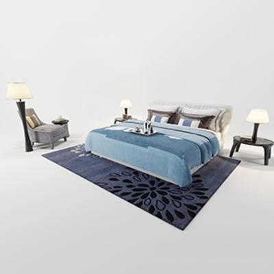 双人床, 床头柜, 现代简约, 椅子
