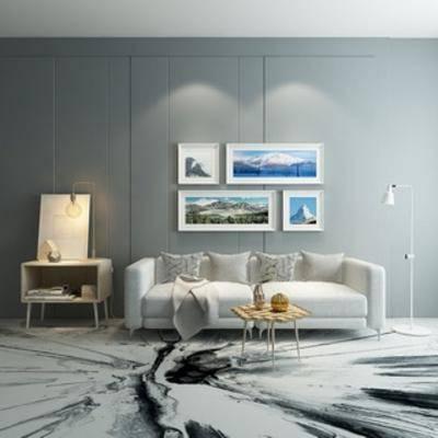 沙发茶几组合, 简约, 北欧沙发, 边柜, 灯, 北欧, 装饰画