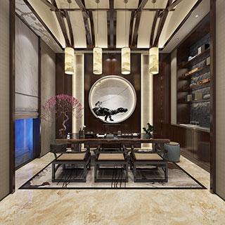 中式,桌椅组合,屏风,置物架,茶室,茶具