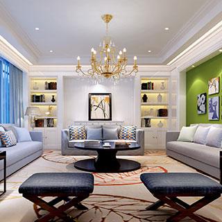 沙发茶几组合,现代简约,凳子,置物架,客厅,灯,陈设品