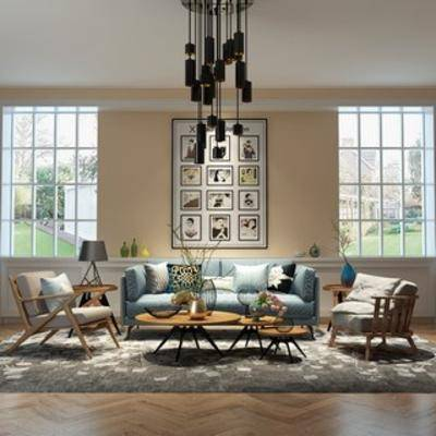沙发茶几组合, 简约, 北欧沙发, 灯, 陈设品, 北欧, 装饰画