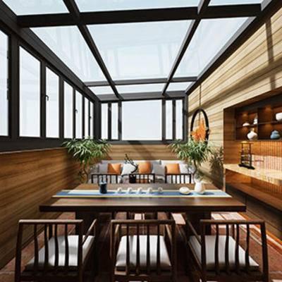 陈设品, 茶室, 中式客厅, 置物架, 桌椅组合, 中式